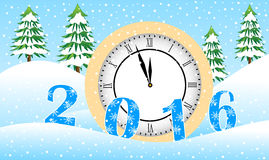 Clock and figures 2016 in the winter forest Stock Photos