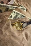 Clock and financial crisis Royalty Free Stock Photo