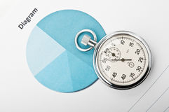 Clock and financial growth chart Stock Image