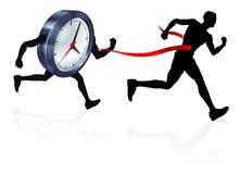 Clock Finish Line Race Man Concept. A man racing against a clock character beating it to the finish line. Concept for beating personal best, hitting a deadline Stock Photo