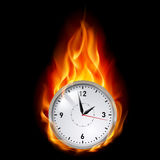 Clock in fire. Illustration on black background for design Royalty Free Stock Photo