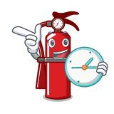With clock fire extinguisher character cartoon. Vector illustration Stock Image