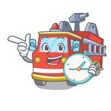 With clock fire truck character cartoon. Vector illustration Royalty Free Stock Photography