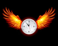 Clock with fire wings. Illustration on black background Royalty Free Stock Image