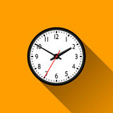 Clock Flat Icon with Long Shadow, Vector Illustration Royalty Free Stock Image