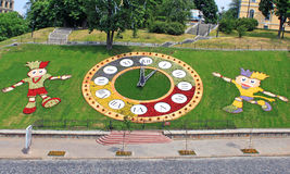 Clock flowerbed is estabished in Kiev Stock Images