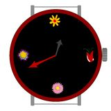 Clock with flowers Royalty Free Stock Photos