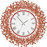 Clock with flying red butterflies. Abstract clock with lots of flying origami butterflies around Stock Photography