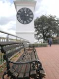 Clock focus bench forest Stock Photo