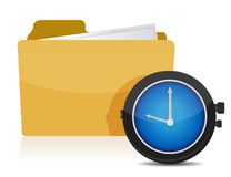 Clock and folder Stock Image