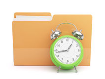 Clock and Folder Concept. Isolated on white background Stock Photography