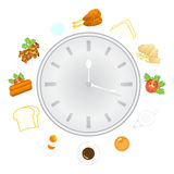 Clock with food and kitchen utensils, meal time Royalty Free Stock Photos