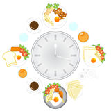 Clock with food and kitchen utensils, meal time Stock Photo
