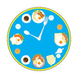 Clock with food and kitchen utensils, meal time. Illustration stock illustration