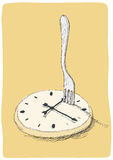 Clock and fork Stock Photo