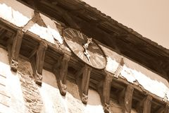 Clock of the fortified medieval saxon church in Veseud, Zied, is a village in the commune Chirpăr from Sibiu County Royalty Free Stock Image