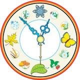 Clock four season. Vector and raster version stock illustration