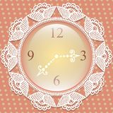 Clock with frame of lace Stock Photo