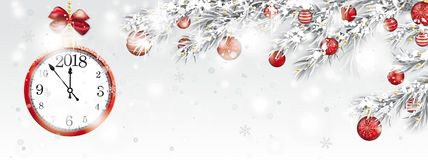 Clock 2018 Frozen Twigs Sun Glitter Deco Red Baubles Snowfall He Royalty Free Stock Photo