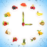 Clock with fruits and vegetables Royalty Free Stock Image