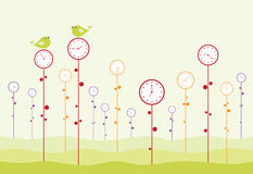 Clock garden. Birds are twitting, and time is passing Stock Photo