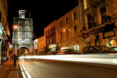 Clock Gate Tower. At Youghal, co. Cork. Ireland. Build in 1777 the Clock Gate served the town as a prison.  A pole lashed from the lower windows to the corner Stock Image