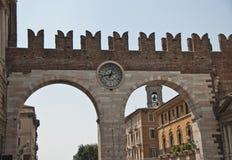 Clock gate, Verona, Italy Royalty Free Stock Photos