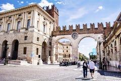 Clock gate in Verona,Italy stock photos