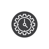 Clock and gear icon vector. Filled flat sign, solid pictogram isolated on white. Time symbol, logo illustration. Pixel perfect vector graphics Royalty Free Stock Photography