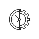 Clock and gear line icon Stock Photo