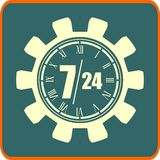 Clock in gear and symbols 7, 24. Time operation mode in gears icon Stock Images