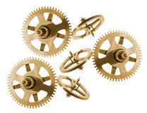 Clock Gear Wheels. On Isolated White Background Stock Photos