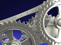 Clock gears. On blue background Stock Images