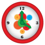 Clock with gears. Illustration of red clock with colorful gears Stock Image