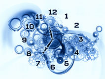 Clock gears. Arrangement of gears, clock elements, dials and dynamic swirly lines on the subject of scheduling, temporal and time related processes, deadlines Stock Image