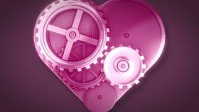 Clock gears in heart shape. On dark background stock footage