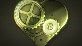 Clock gears in heart shape stock video footage