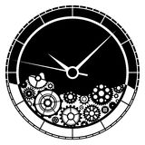 Clock and gears illustration. Clock consists of various gears. Isolated on white background Stock Images