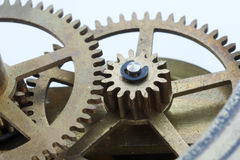Clock Gears Macro. Macro view of gears from an antique clock Stock Photography