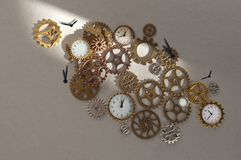 Clock parts including gears and cogs. Clock parts including hands gears and cogs stock image