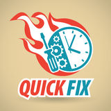 Clock and gears, tool, fireball. Repair of watches, watchmaker. Vector illustration Stock Image