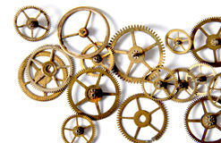 Clock gears on a white background. Picture of an Old Clock gears on a white background Stock Photos