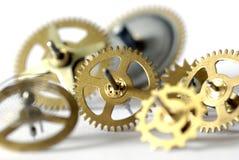 Clock gearwheels. Dismantled clock mechanism, gearwheels; differential focus Royalty Free Stock Image