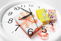 Clock and Gift Boxes Stock Images