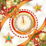 Clock with gifts. Christmas card with clock and pine tree Royalty Free Stock Photo
