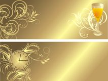 Clock and glass. Gothic ornament for two banners Stock Photos