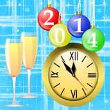 Clock,glasses with champagne and new-year marbles. With the numbers of coming year, illustration Royalty Free Stock Images