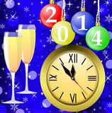 Clock,glasses with champagne and new-year marbles. With the numbers of coming year, illustration Royalty Free Stock Photography