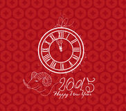 Clock and goat design for Chinese New Year celebration. Chinese New Year Greeting Card Stock Images