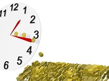 Clock and gold coins Royalty Free Stock Image